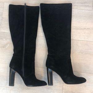 Delman Knee-high black suede boots